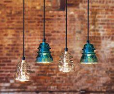 Glass insulators turned into pendant lights