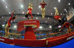 Brandie Jean Jay of the United States competes in the Women's Artistic Gymnastics Vault Finals. She won.