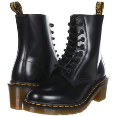 Dr. Martens Clemency 8-Tie Boot Women's Lace-up Boots (115 CAD) ❤ liked on Polyvore featuring shoes, boots, ankle boots, black, black bootie boots, dr martens boots, bootie boots and short boots