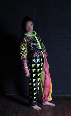 FMP project. 'Desperately seeking the 60s' 60s and 80s inspired neon printed PVC jumpsuit/boilersuit  Copyright Anna Spurling  All Rights Reserved