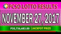 PCSO Lotto Results November 27, 2017 (6/55, 6/45, 4D, SWERTRES & EZ2 LOTTO) Lotto Results, Youtube, December 17, Youtubers, Youtube Movies