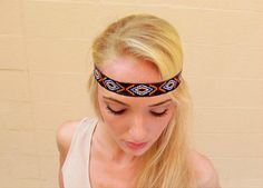 Hipster Aztec Tribe with beautiful earthy colors on this hippie bohemian head band.  Popular, stylish, and simple headbands in fashion completing your
