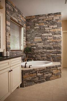 7 Enthusiastic Clever Ideas: Galley Bathroom Remodel Before After small bathroom remodel farmhouse.Half Bathroom Remodel Modern bathroom remodel tips walk in shower.Bathroom Remodel Cost Tips. House Design, New Homes, Stone Interior, Rustic House, Remodel, House, Rustic Bathrooms, Home Remodeling, Home