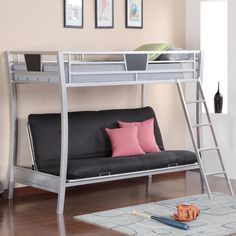 Lofted twin bunk bed
