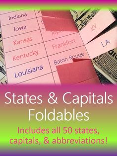 States Capitals Abbreviations Foldables Interactive Notebook Or Flashcards
