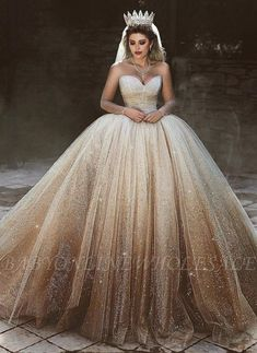 3c300e8e424a Sparkly Tulle Floor-Length Wedding Dresses | Scoop Long Sleeves Bridal  Dresses with Sequins