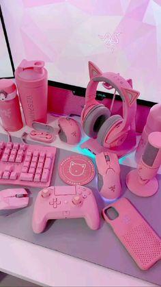 Gamer Setup, Gaming Room Setup, Pc Setup, Cute Room Ideas, Cute Room Decor, Kawaii Games, Pink Games, Kawaii Bedroom, Room Design Bedroom