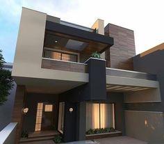 Modern Exterior House Designs, Modern House Facades, Dream House Exterior, Modern House Design, Exterior Design, 3 Storey House Design, Bungalow House Design, House Outside Design, House Front Design