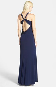 Laundry by Shelli Segal Knotted Jersey Cross Back Gown | Nordstrom