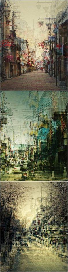 多重曝光的日本城市街景。德国摄影师Stephanie Jung作品..