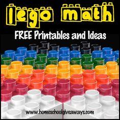 Lego Math FREE Printables and Ideas - Homeschool Giveaways Lego Activities, Math Resources, Math Games, Multiplication Activities, Counting Games, Elementary Math, Kindergarten Math, Teaching Math, Preschool