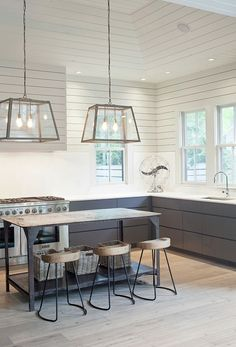 Heather A Wilson, Architect - kitchens - vaulted ceilings, wood paneled ceiling, painted wood paneled ceiling, recessed lighting, pot lights...