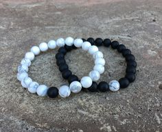 2 PC SET Distance Bracelets  Black and by GalaxyAccessoriesMI