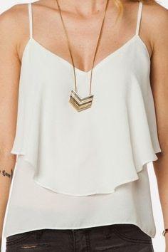 Gorgeous thin strap white tank fashion style