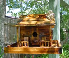 Log Cabin Bird Feeders | HOME › Special › RUSTIC CABIN BIRD HOUSE