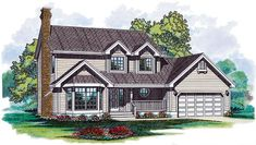 Elevation of Country   House Plan 55116