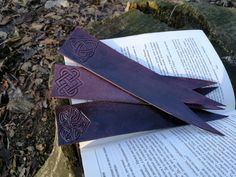 Leather celtic bookmark set of irish vintage book mark accessories, fantasy bookmarks, birthday or anniversary gift Leather Bookmarks, Celtic Knot Designs, Etsy Coupon, Workshop Design, Book Markers, Paper Book, Leather Books, Leather Accessories, Leather Craft