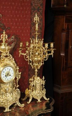 Huge Antique French Gilt Brass Clock Set by Japy Freres   224403   Sellingantiques.co.uk