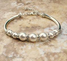 Pearl Wedding Bracelet Crystal Rhinestones Ivory by AzureTreasures, $45.00