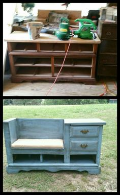 We Took An Old Dresser And Turned It Into A Great Bench With Shoe Cubby