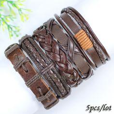 Aliexpress.com da dan deki Fl126 toptan el yapımı kahverengi bilezik, etnik aşiret wrap deri bilezik, gotik bileklik erkekler için,