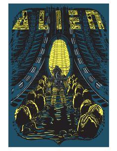 Alien silk screen by Peter Ferk Alien Film, Alien 1979, Alien Art, Giger Art, Hr Giger, Saga Art, Aliens Movie, Alien Planet, Alien Vs Predator