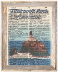 Tillamook Rock Lighthouse Oregon Altered Art Print Upcycled Vintage Dictionary