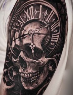 Skull clock tattoo - best skull tattoos for men: cool skull tattoo designs and i . - Skull clock tattoo – best skull tattoos for men: cool skull tattoo designs and … - Biker Tattoos, Head Tattoos, Body Art Tattoos, Male Tattoo, Tattoo Wolf, Badass Tattoos, Lion Tattoo, Tattoo Drawings, Skull Tattoo Design