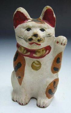 Maneki Neko - Painted Earthenware Pottery. Circa Early to Mid-19th Century. 15cm x 8cm.