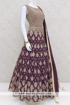 Wine pure georgette indian designer outfit from palkhi fashion with stone,self embroidery & resham work with matching soft net duppata, Lycra leggings Dress Indian Style, Indian Dresses, Indian Outfits, Indian Designer Outfits, Designer Dresses, Stylish Dresses, Fashion Dresses, Long Gown Dress, Girl Fashion