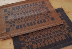 Handwoven Placemats- Set of Two- Charcoal with Blue, Rust, Sage Gray
