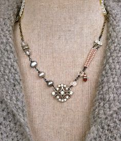 Isabelle. vintage rhinestone,crystal,freshwater grey pearl,wire wrapped necklace. Tiedupmemories