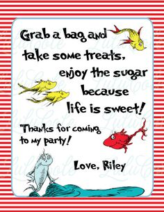 one fish, two fish, red fish blue fish treat bags Dr Seuss Party Ideas, Dr Seuss Birthday Party, Birthday Fun, First Birthday Parties, Birthday Party Themes, Birthday Ideas, Dr. Seuss, Cat In The Hat Party, Dr Seuss Baby Shower