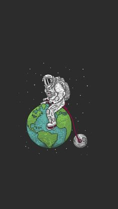Astronaut riding the world wallpaper.