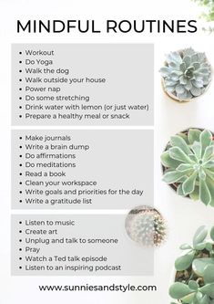 Achtsamkeit Read the guidelines below on how to create a daily mindful routine that you will love. having a daily mindful daily routine. Self Care Routine, Yoga Routine, Health Routine, Bedtime Routine, Good Habits, Healthy Habits, Healthy Meals, Healthy Recipes, Mind Hack