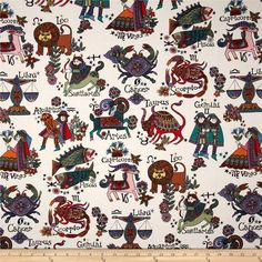 Designed by De Leon Design Group, this cotton print is perfect for quilting, apparel and home décor accents.  Colors include off white, brown, black, red, yellow, orange, green, blue, purple and pink.