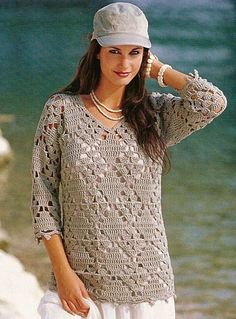 Taupe 3/4 Length Sleeve Top free crochet graph pattern