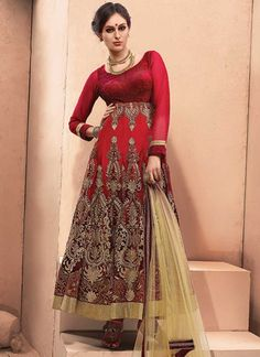 Vibrant Red Velvet With Net Embroidery Work Anarkali Suit http://www.angelnx.com/