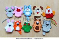 10 felt finger puppets: mouse, pig, cat, dog, cock, fox, rabbit, frog, bear, wolf