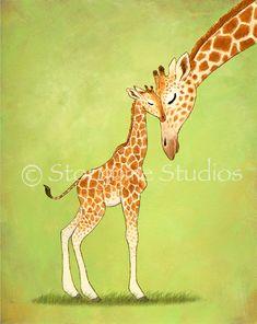 Giraffe Art Print - Children's Nursery - Baby Mine, Giraffes - 11x14 - Kids Baby Room Decor. $30.00, via Etsy.