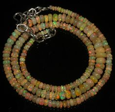 "48 Crts 1 Strands 2 to 7 mm 18"" Beads necklace Ethiopian Welo Fire Opal  A+1649"