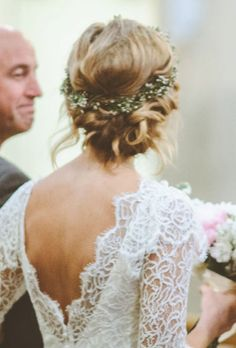 Wedding Hairstyle Idea Low Bun With Flower Crown Cc With Flowers