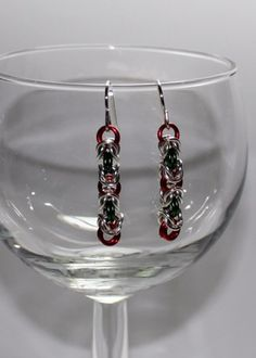 Red, Green and silver  Byzantine Chainmaille Earrings   ENDCrafts - Jewelry on ArtFire