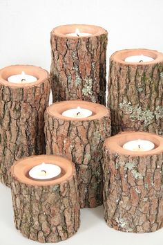 Tree Branch Candle Holders I- Rustic Wood Candle Holders, Tree Slice, Woodland Candle Holders Rustic Candles, Rustic Wood, Pillar Candles, Rustic Industrial, Lighted Branches, Tree Branches, Sisal, Tree Stump Table, Wood Candle Holders