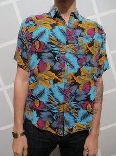 80s Hawaiian Print Floral Mens Button Down Collared by kokorokoko, $24.00