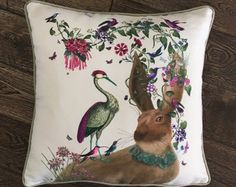 Bird pillow Badger Pillow Cover Tropical bird by FabFunkyPillows