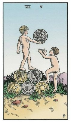 Six of Coins - Alchemical Renewed Tarot by Robert M. Place, Leisa ReFalo