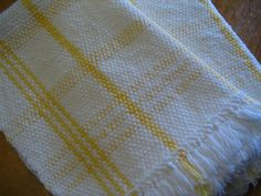 Yellow and White Hand Woven Cotton Kitchen Towels by farmersattic