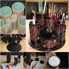Paper roll desk top organizer DIY