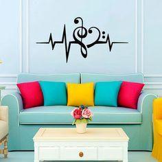 Music Puls Treble Clef   Bass Clef Heart Wall Decal Vinyl Sticker Wall Decor Home Interior Design Art Murals VK92